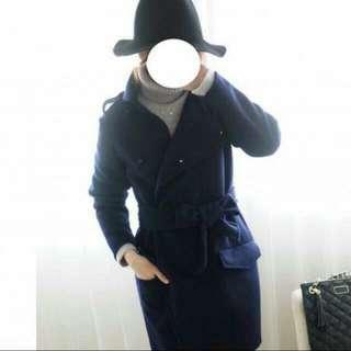 🚚 SAFA 韓 深藍色手工羊毛大衣#降價#