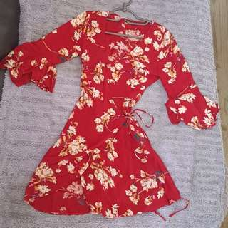 Red Wrap Dress floral print