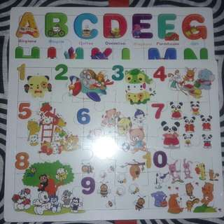 Wooden alphabet and number puzzle bundle