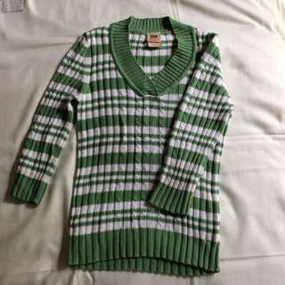 Green and white striped Sweater