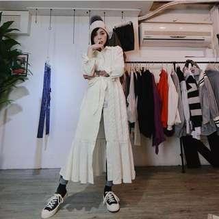 🚚 全新正韓白色針織洋裝外套 冬天厚針織外套