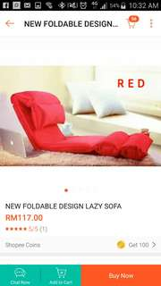 Foldable lazy sofa (red)