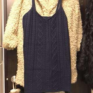 學院風麻花紋背心洋裝