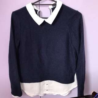 Navy Collared Sweater