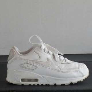 Nike Air Max 90 Leather Little Kids Shoe White/White