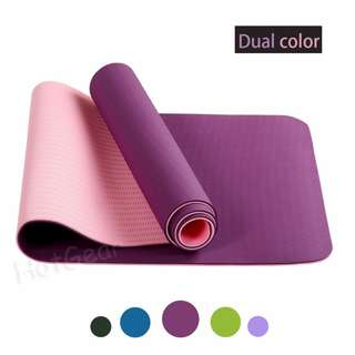 Yoga Mat TPE Premium Quality ◇ Non Slip New Yoga Mats 0.6 cm Thick High Density / Padding To Avoid Sore Knees During Pilates Stretching & Toning Workouts Fitness / Eco Friendly For Men & Women - Yoga Exercise Home Gym Must Have