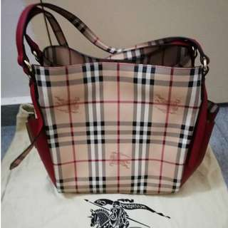 Burberry Small Haymarket Check & Leather Double pocket Tote - Red (Authentic)