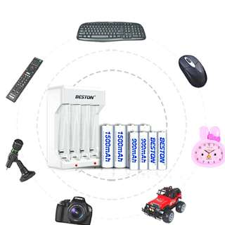 AA + AAA + Charger batteries Rechargeable Set for Toys and Electronics Gadgets