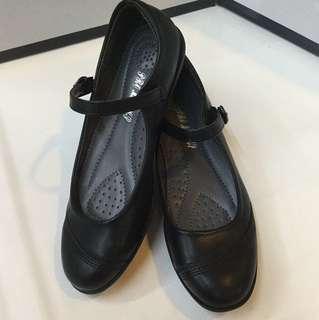 Black shoes synthetic