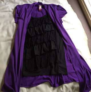 Black lace ruffle tank with attached purple upper