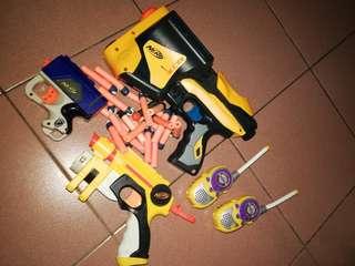 Nerf guns & walkie talkie