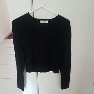 Cropped Seed Black Transitional Jumper