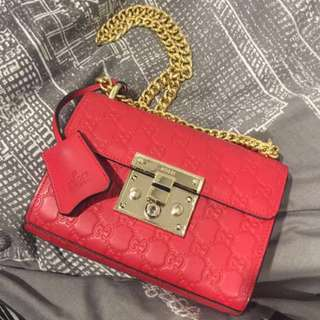 AS NEW GUCCI RED MONOGRAM PADLOCK BAG