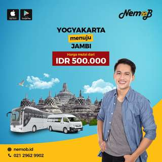 Promo tiket shuttle dan bus murah rute Jogja - Jambi dan sebaliknya. Hubungi Nemob.id