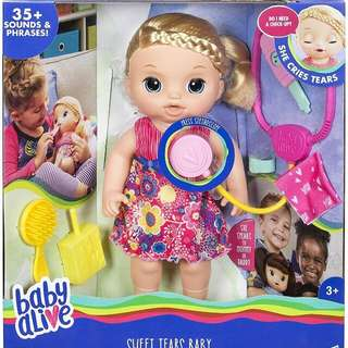 Baby alive sweet tears w/accessories and box