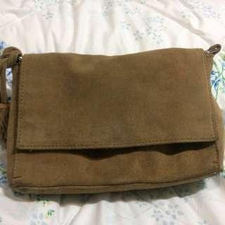 Zara genuine suede leather crossbody bag