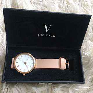 The fifth rose gold and peach watch