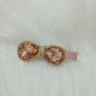 jepit pink stone ribbon