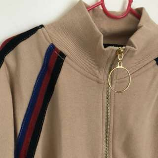 Beige high neck zip jumper