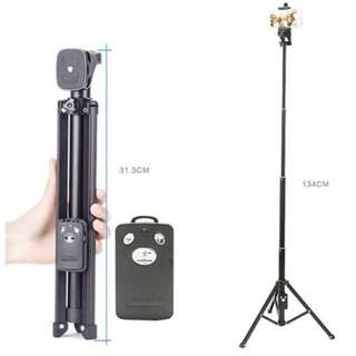 YUNTENG VCT-1688 2 in 1 Selfie Tripod with Remote Controller