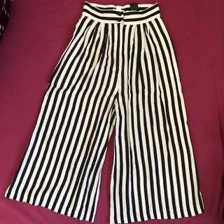 H&M 條紋 八分 高腰 寬褲 闊腿褲 棉麻材質