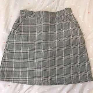 小清新格紋短裙