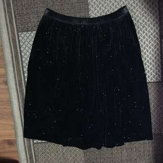 Black Floral Skirt with Glitters