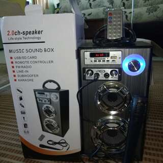 Portable speaker microphone with remote control karaoke set