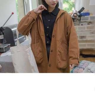 磚橘色連帽大口袋風衣外套