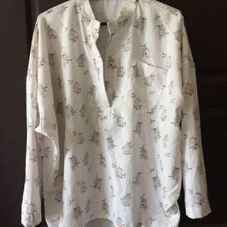 [含運費]鳥籠白色休閒襯衫