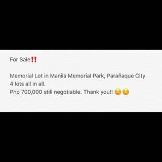 Memorial Lot in Manila Memorial Park, Parañaque City (4 lots)