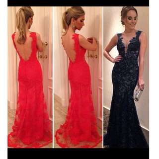 Evening / Prom Long Lace Dress For Sale!! :)) (red)