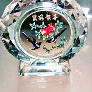 🚚 雙鶴報喜彩色純銀紀念章