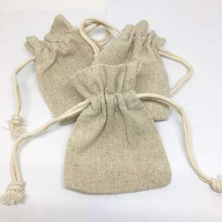 BN Small Cotton Drawstring Bags. Natural Unbleached Cotton. Craft Supplies. Thick Quality Gift Bags Packaging.