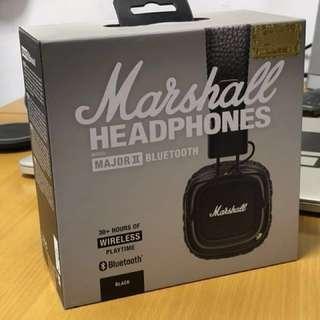 平放全新未開盒 Marshall Major II Bluetooth Headphones