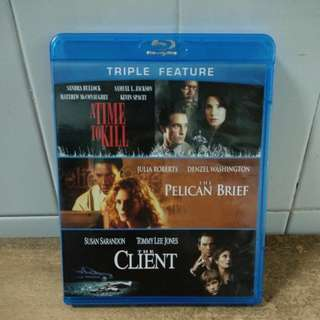A Time to Kill, The Pelican Brief & The Client - Blu Ray - US import (original) - 3 great movies each with great actors for only $25