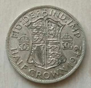 Britain 1942 1/2 Crown Silver Coin With Good Details