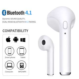 BTD0180 - (NEWEST) Wireless Bluetooth i7 Right Earphone Headset (White)