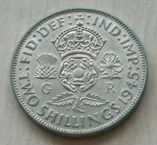 Britain 1945 Florin Silver Coin With Good Details