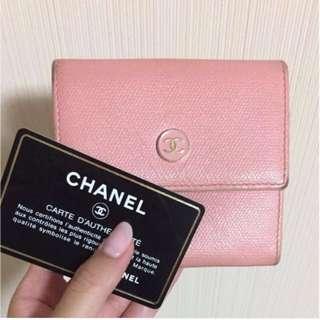 二手Chanel 粉色 短夾 皮夾