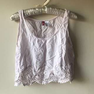 H&M Baby Pink Cropped Tank Top with Lace Detail Size M US 8