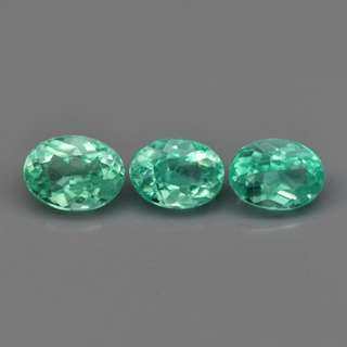 3pcs Lot 1.10ct t.w Oval Natural Neon Blue Green Apatite
