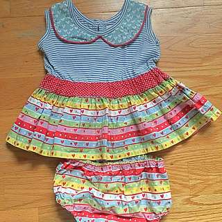 Oobi candy hearts Harper baby dress and bloomers Set size 0