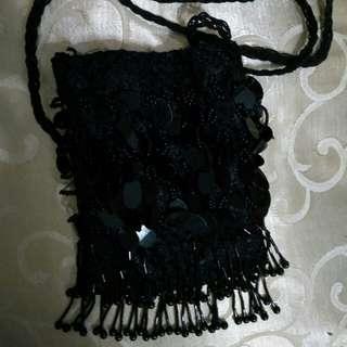 Black Sequins Sling Bag