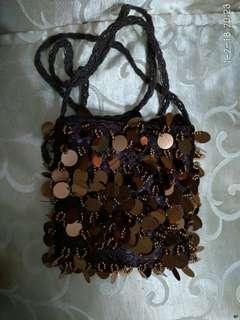 Brown Sequins Sling Bag