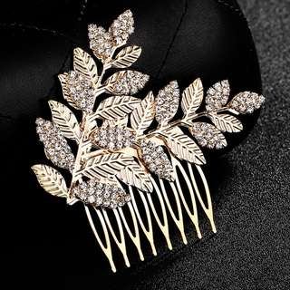 Brand new hair accessories for wedding and party gold leaves comb
