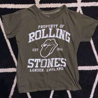 Khaki Rolling Stones licensed band tee