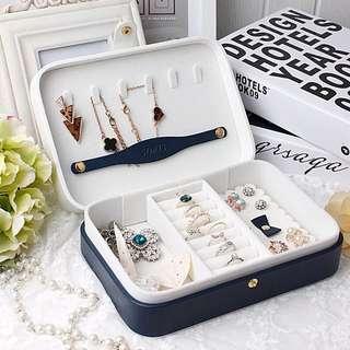 Sofis日系蝴蝶結花邊羊皮荔枝紋單層飾品收納盒