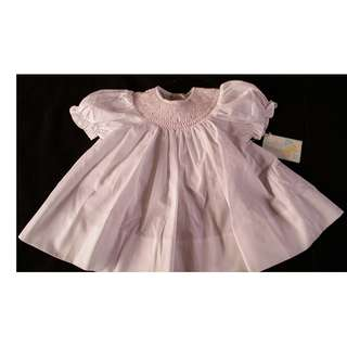 Bailey Babies Smocked Dress White  or Pink 3M, 6M 9M