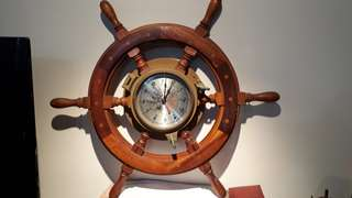 ship clock brass & wood